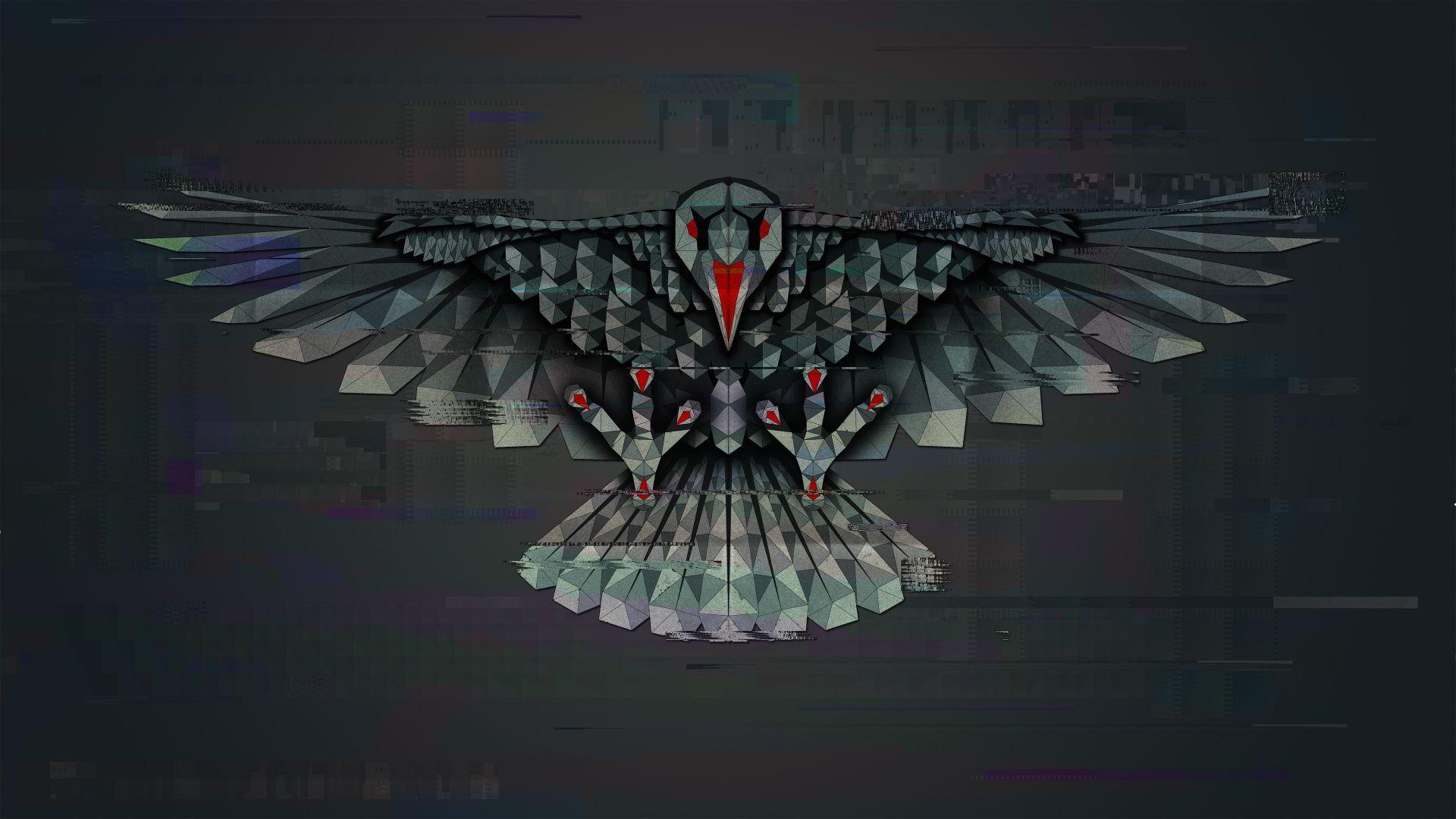 Wallpaper Crow, bird, abstract, glitch art