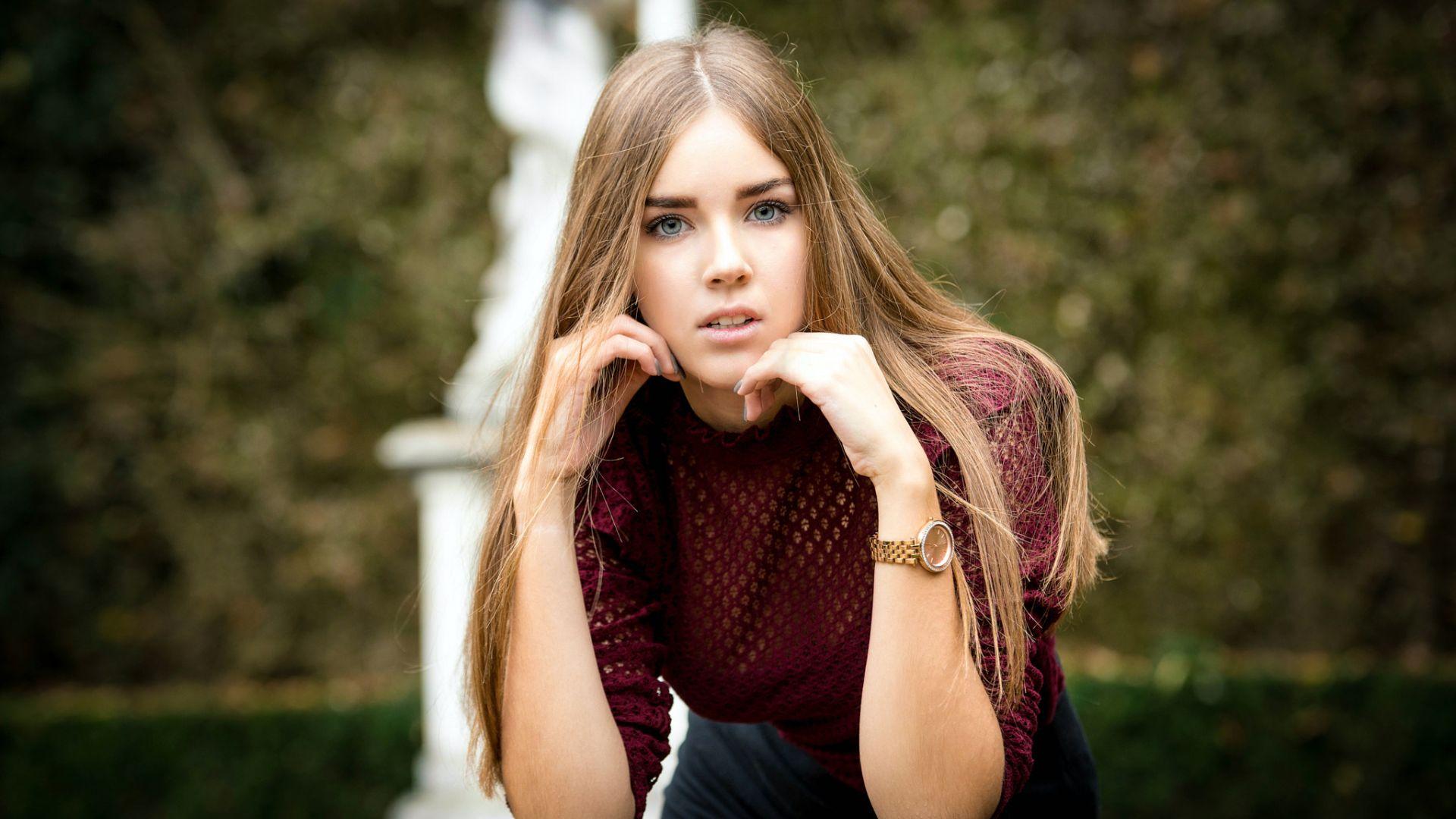Wallpaper Blonde, girl model, long hair, beautiful