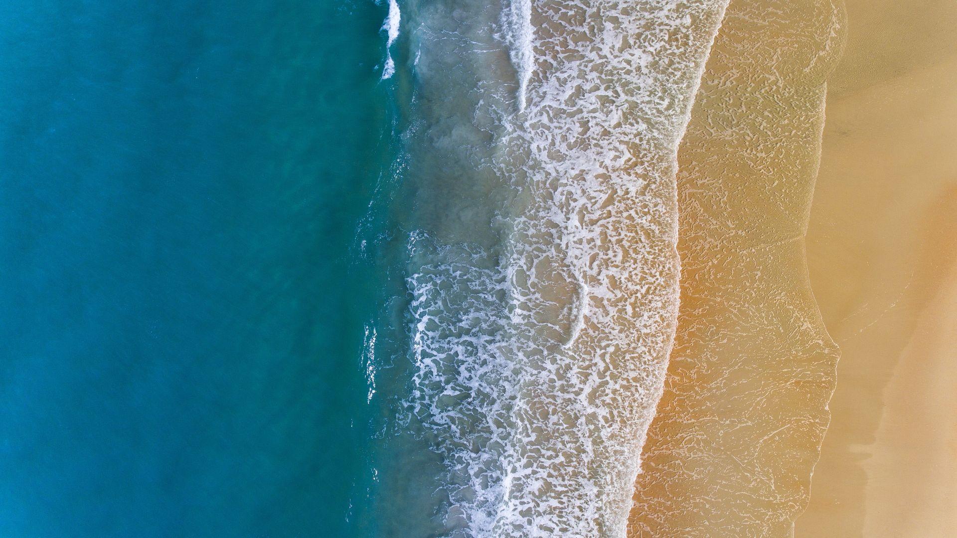 Wallpaper Water, sea waves, beach, aerial view