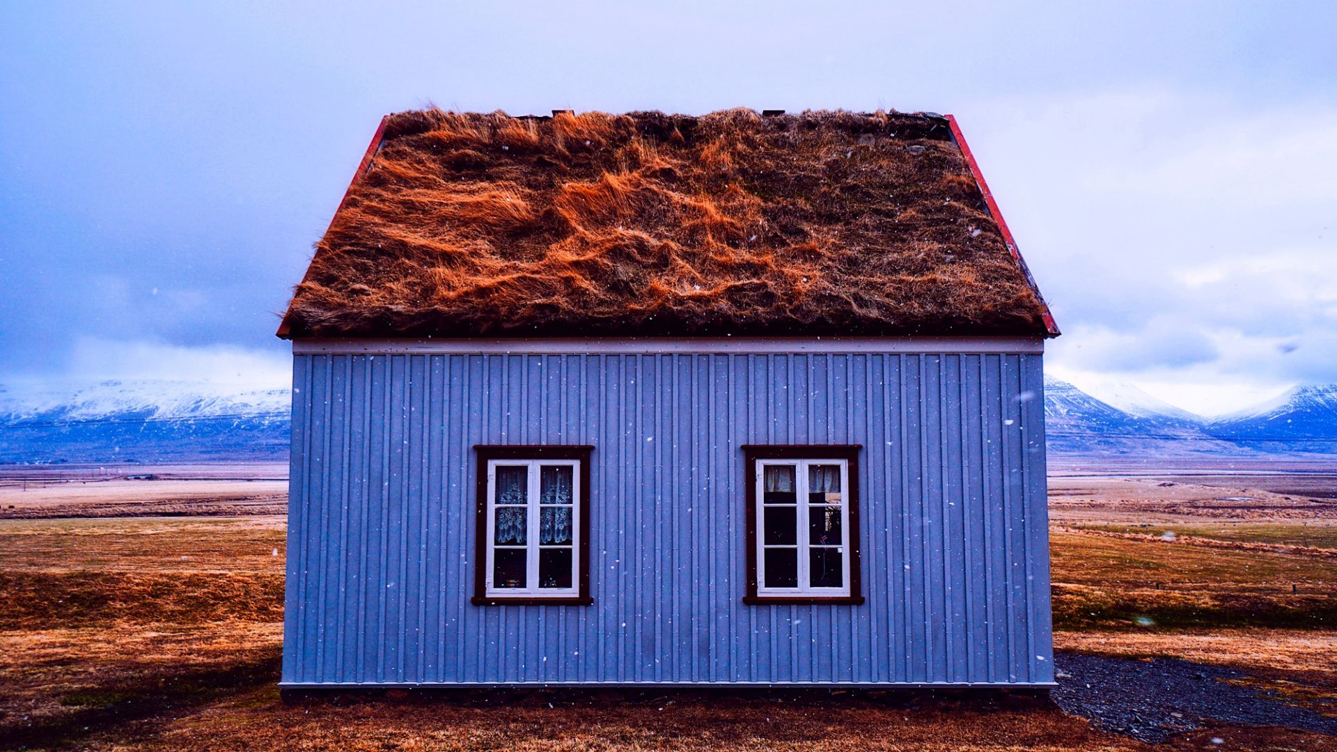Cottage, house, landscape, Iceland
