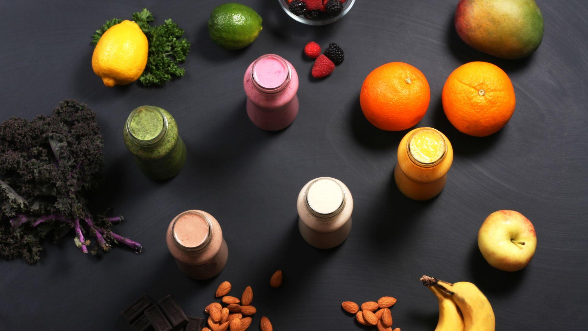 Wallpaper Smoothies, fruits, banana, apple, orange, nuts, chocolate, mango
