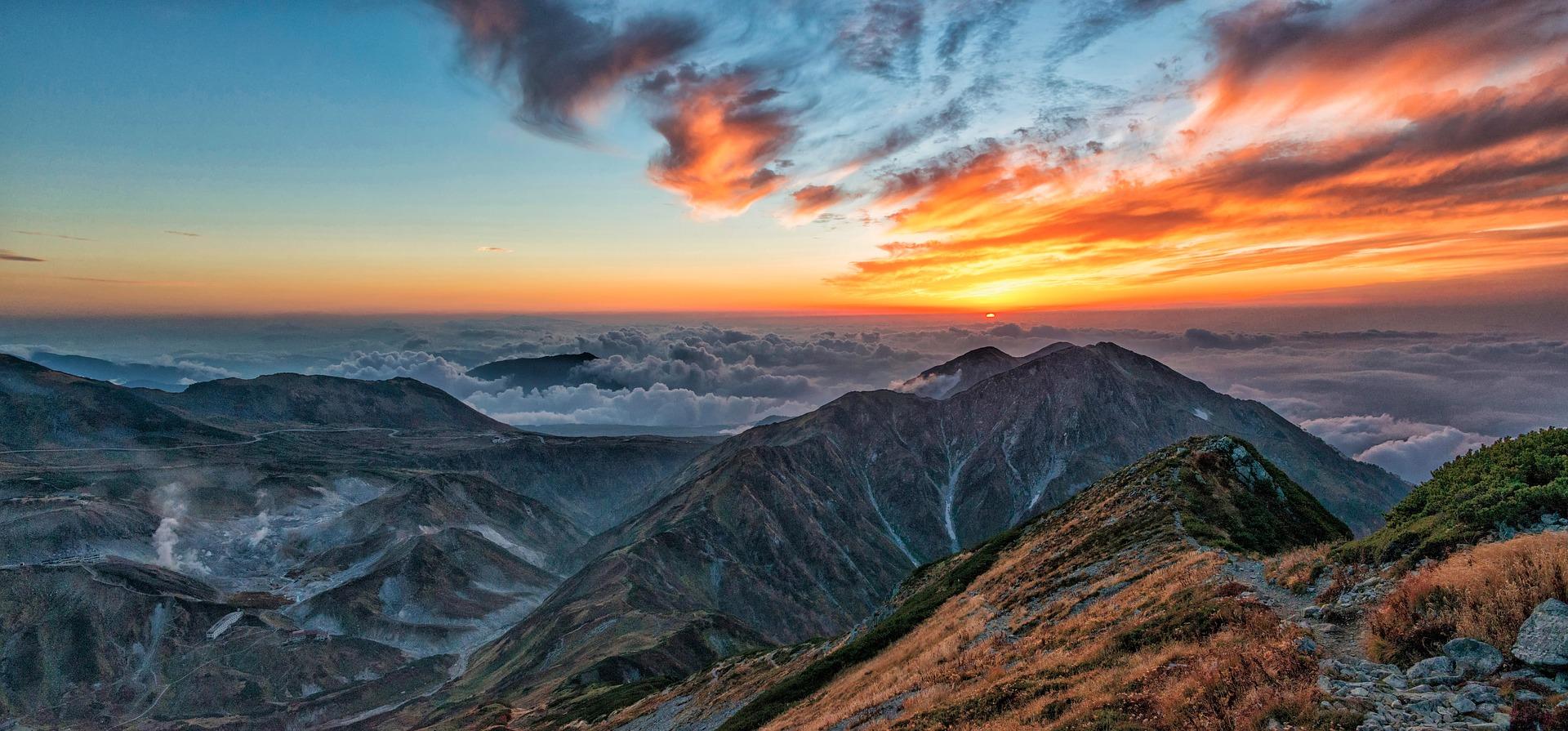 Wallpaper Mountains, landscape, sunset, nature, clouds