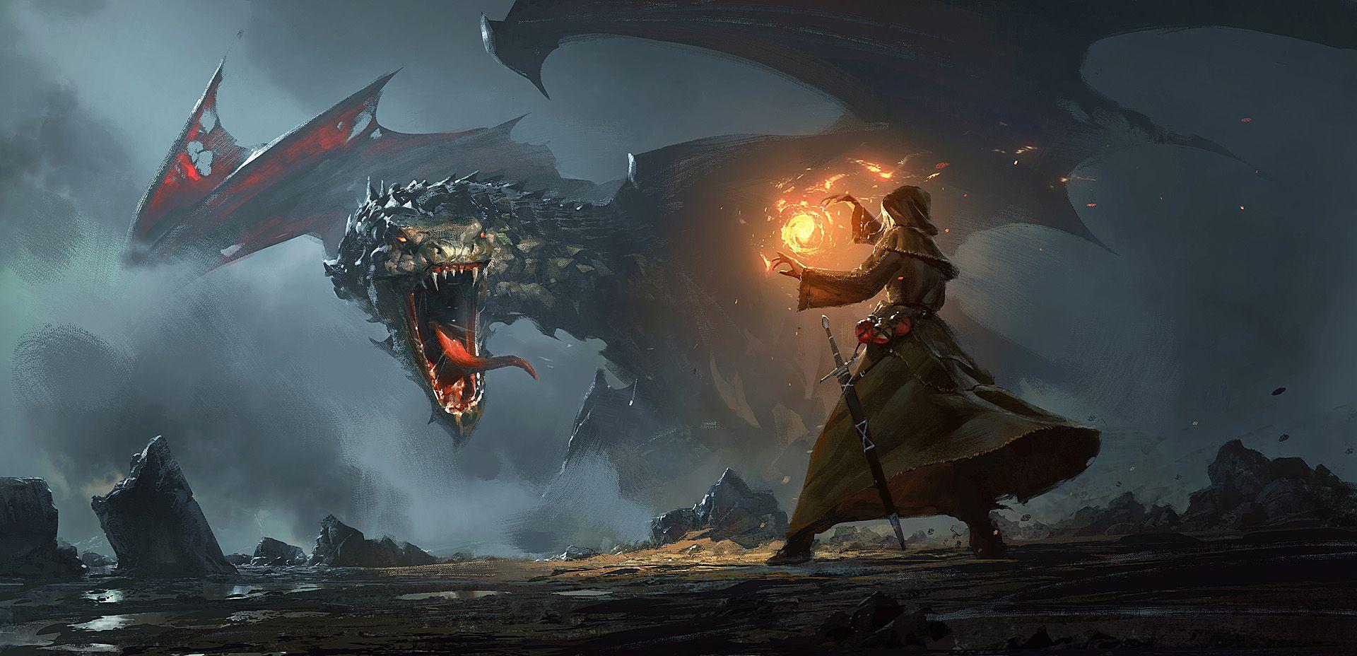 Desktop Wallpaper Fantasy, Wizard, Dragon, Fight, Art, Hd
