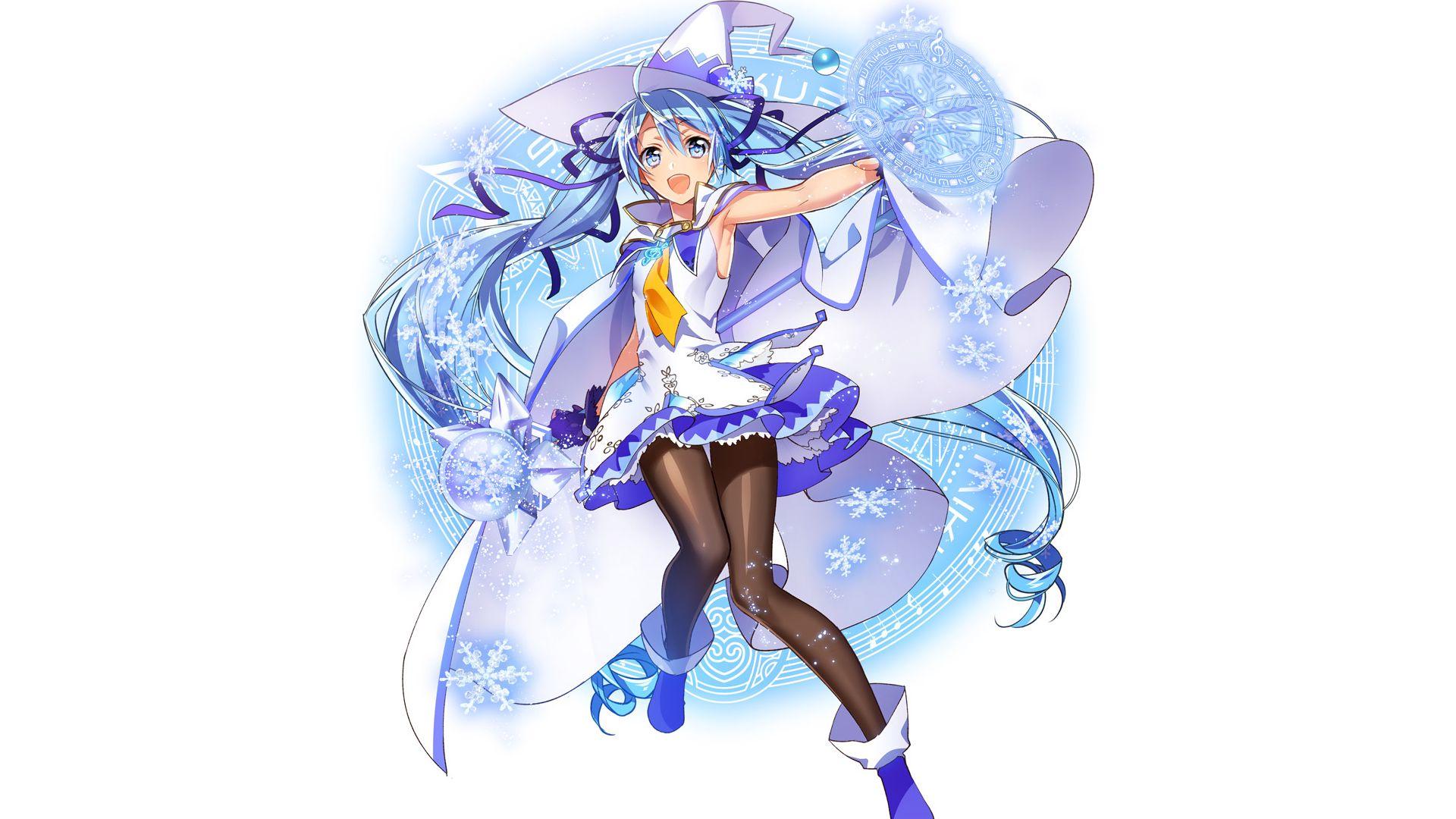 Wallpaper Blue hair, anime girl, Hatsune Miku