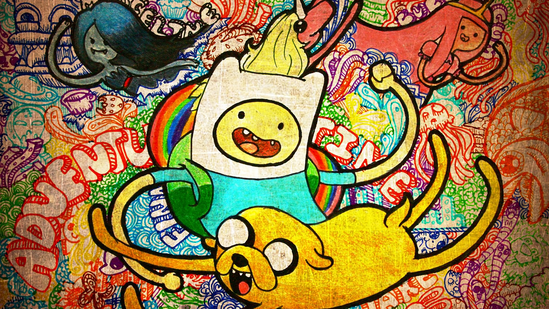 Wallpaper Adventure time, finn and jake, graffiti, colorful artwork