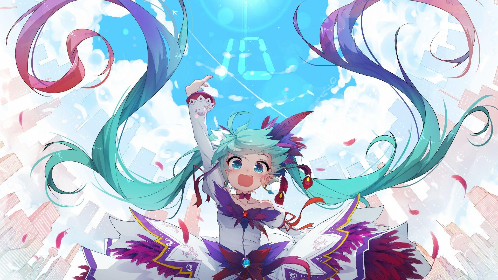 Desktop Wallpaper Enjoy Jump Hatsune Miku Anime Girl Hd Image Picture Background A33720
