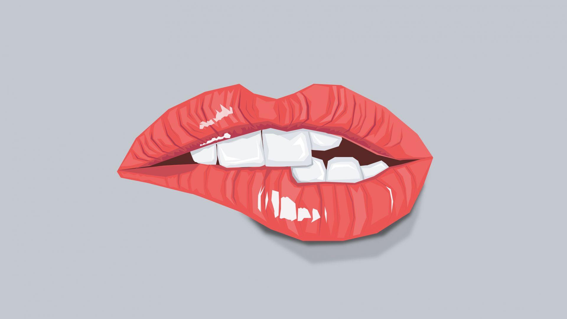 Wallpaper Sexy lips, teeth, minimal
