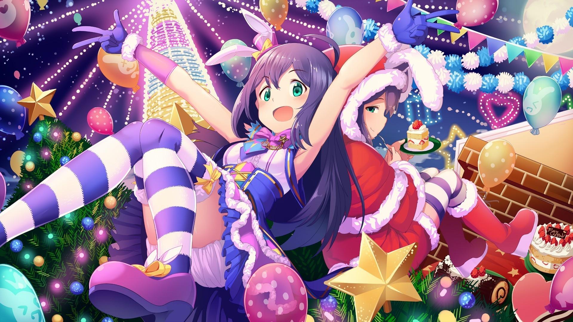 Wallpaper Fun, party, christmas, Anna Mochizuki, The Idolmaster Cinderella Girls