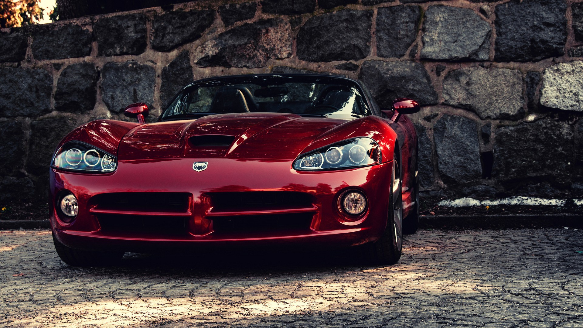 Wallpaper Dodge Viper, red sports car, front view