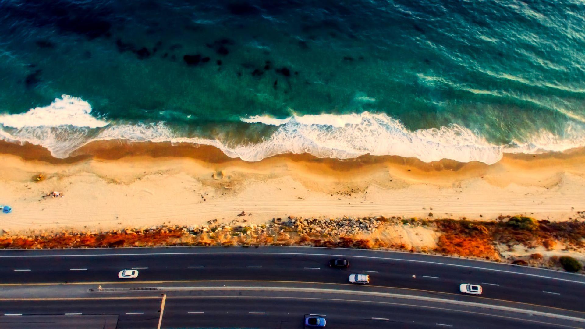 Wallpaper Laguna Beach, California, road, aerial view