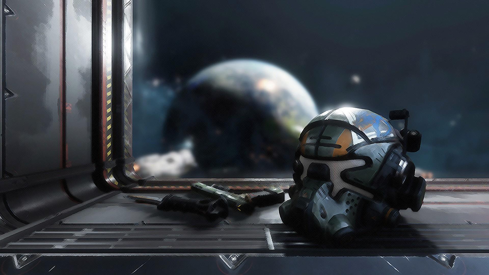 Wallpaper Helmet of solider of Titanfall 2 video game