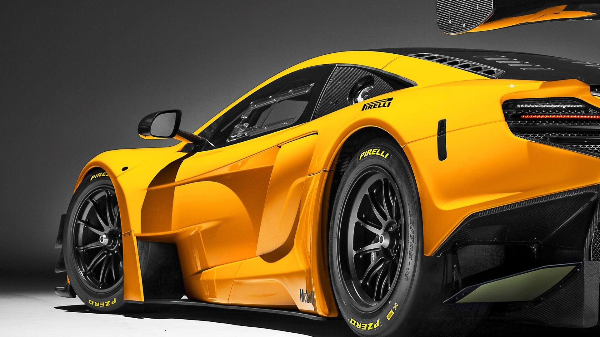 Desktop Wallpaper Mclaren 650 S Gt3 Yellow Sports Car Side