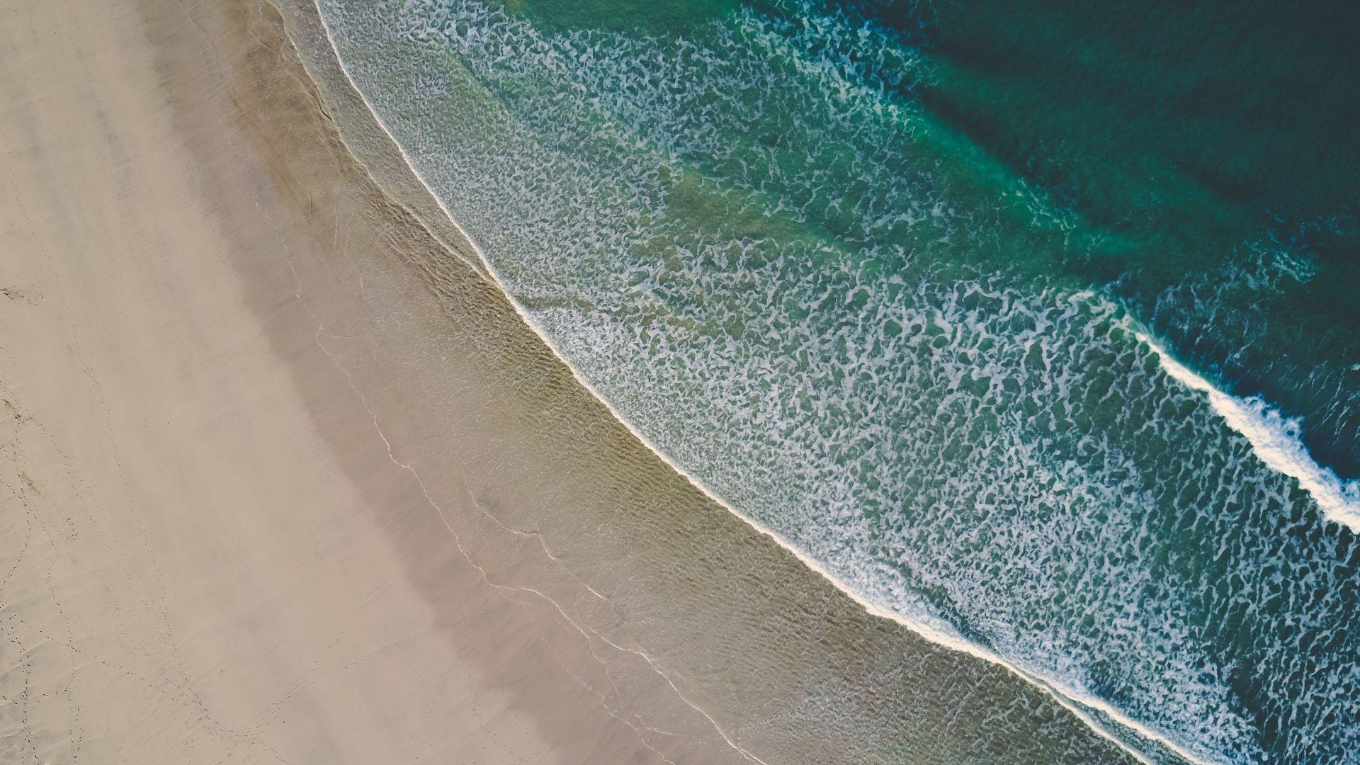 Wallpaper Aerial view, beach, sea waves