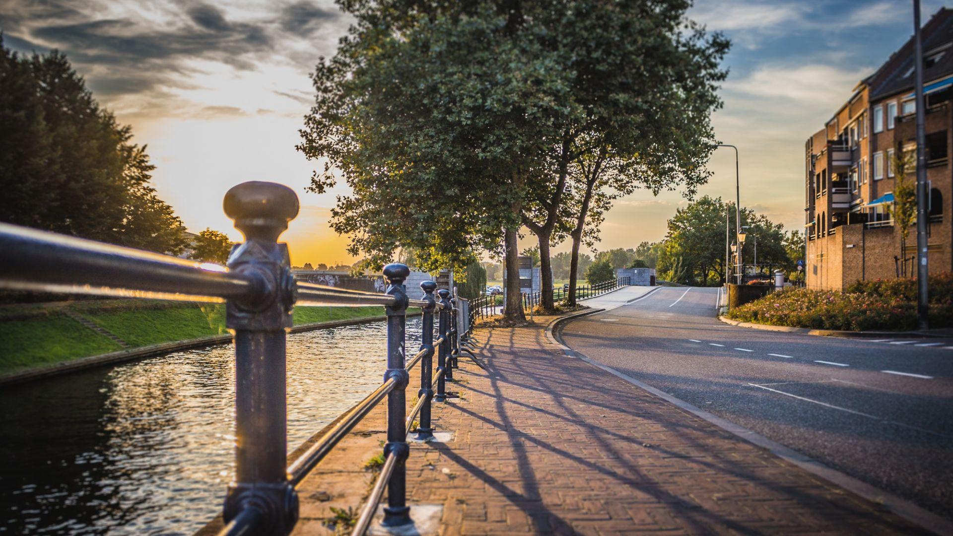 Sunset Empty Street Road Fence Trees Wallpaper