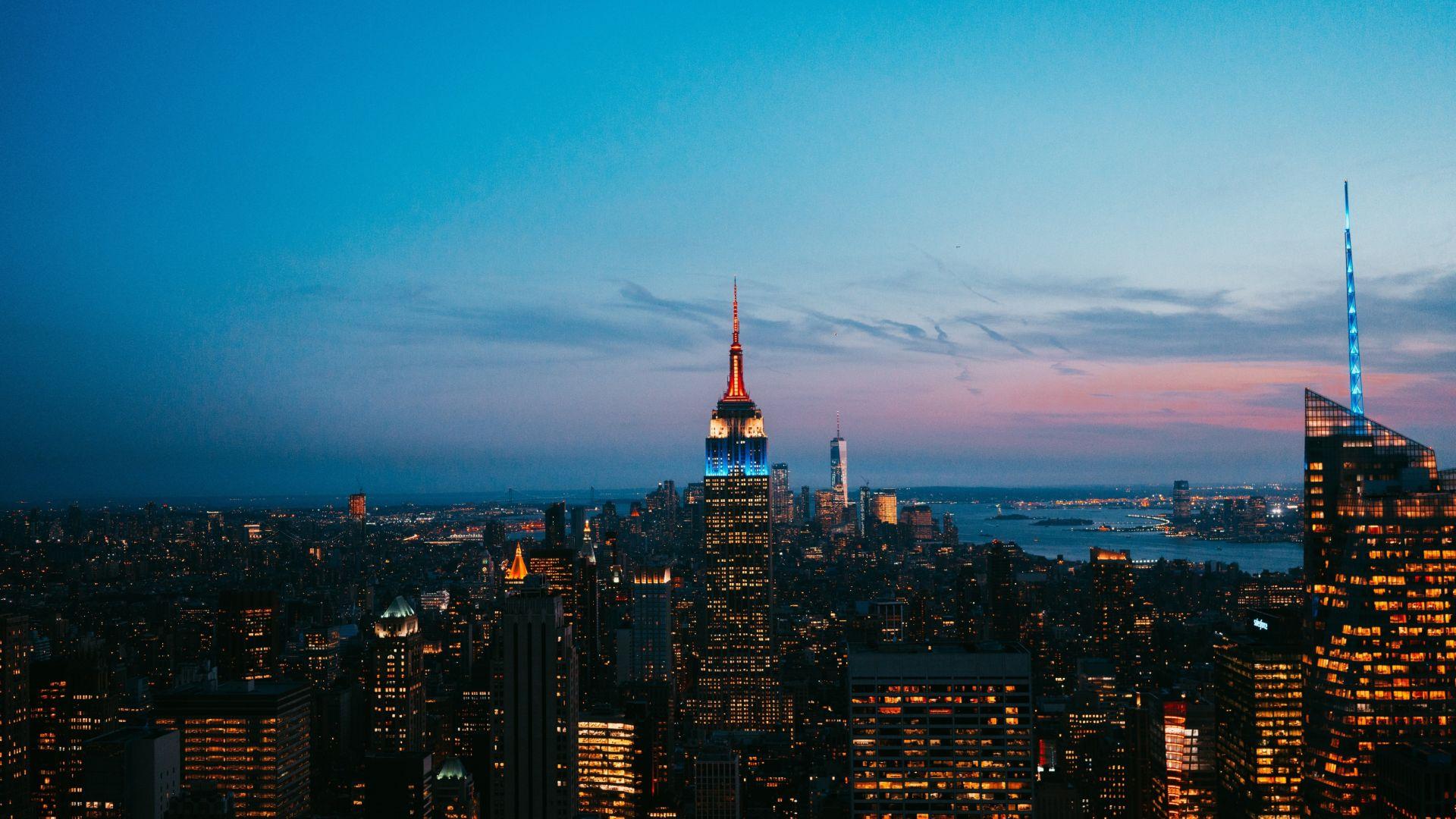 Wallpaper New york, Empire State building, buildings, skyscrapers, night, city, 5k