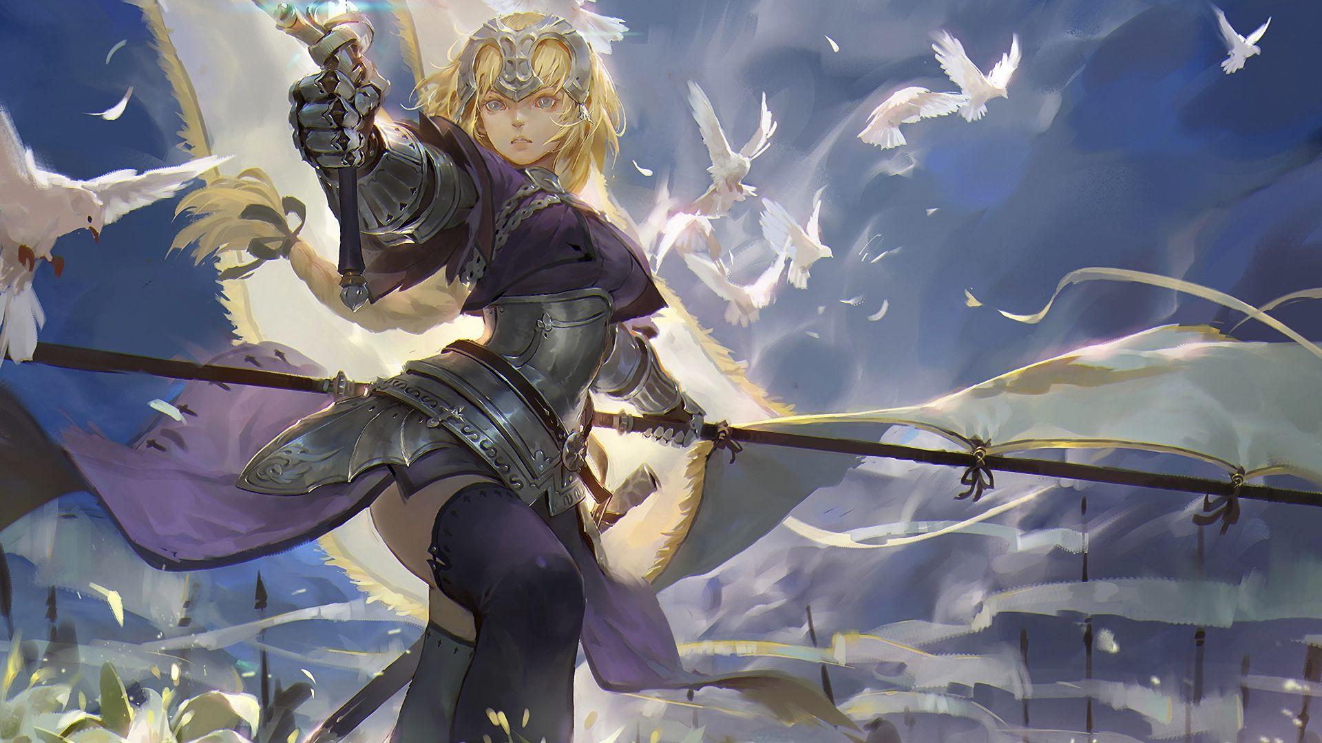 Desktop Wallpaper Anime Girl Blonde Ruler Fate Apocrypha Sword Hd Image Picture Background B8bb2e