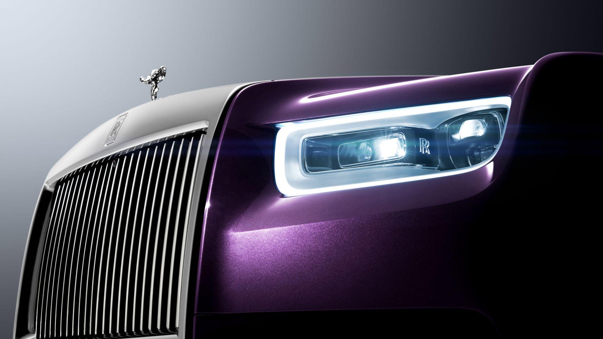 Desktop Wallpaper Rolls Royce Phantom Logo Headlights Hd Image