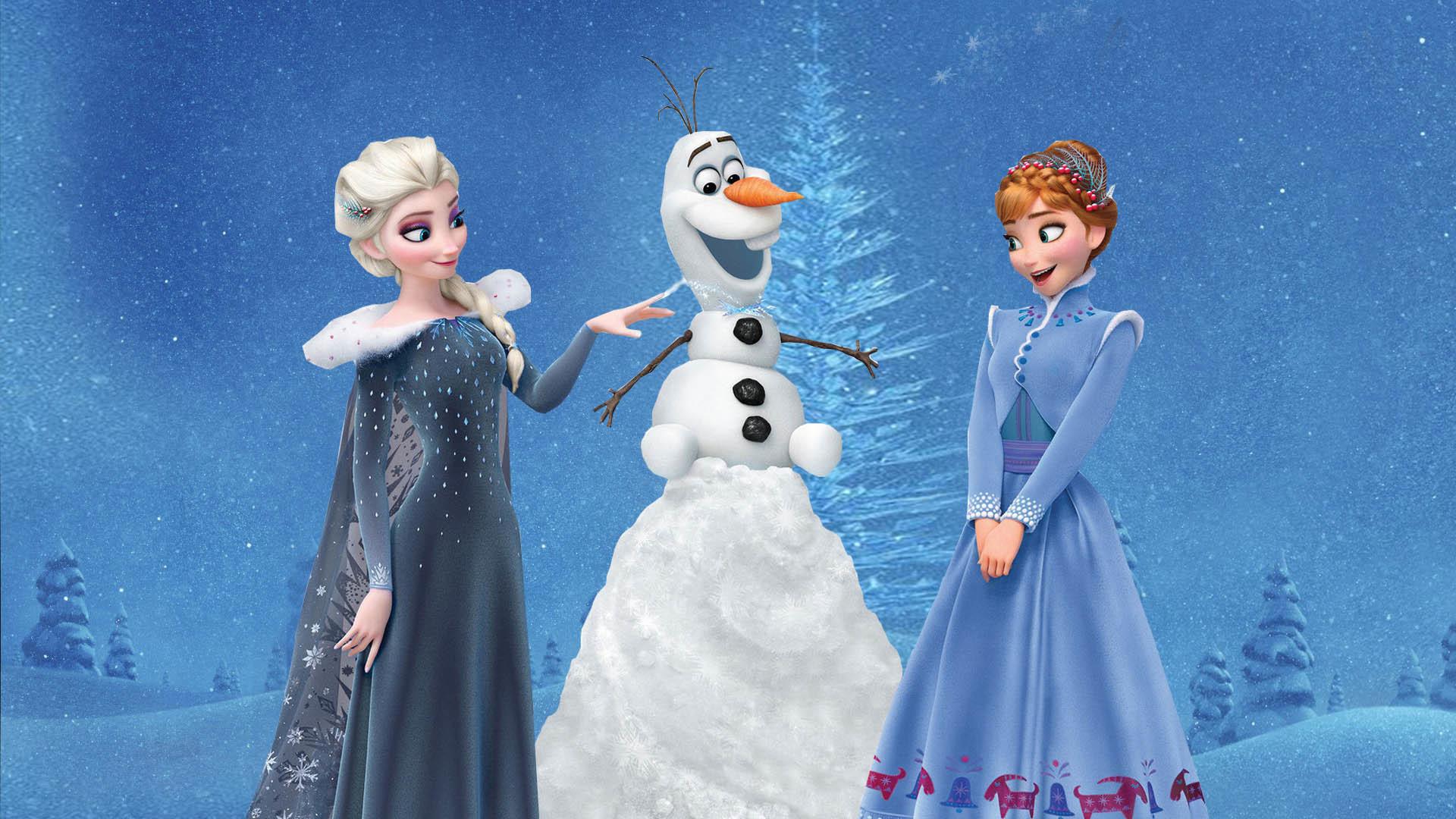 Olafs Frozen Adventure Anna And Elsa Princess 2017 Wallpaper
