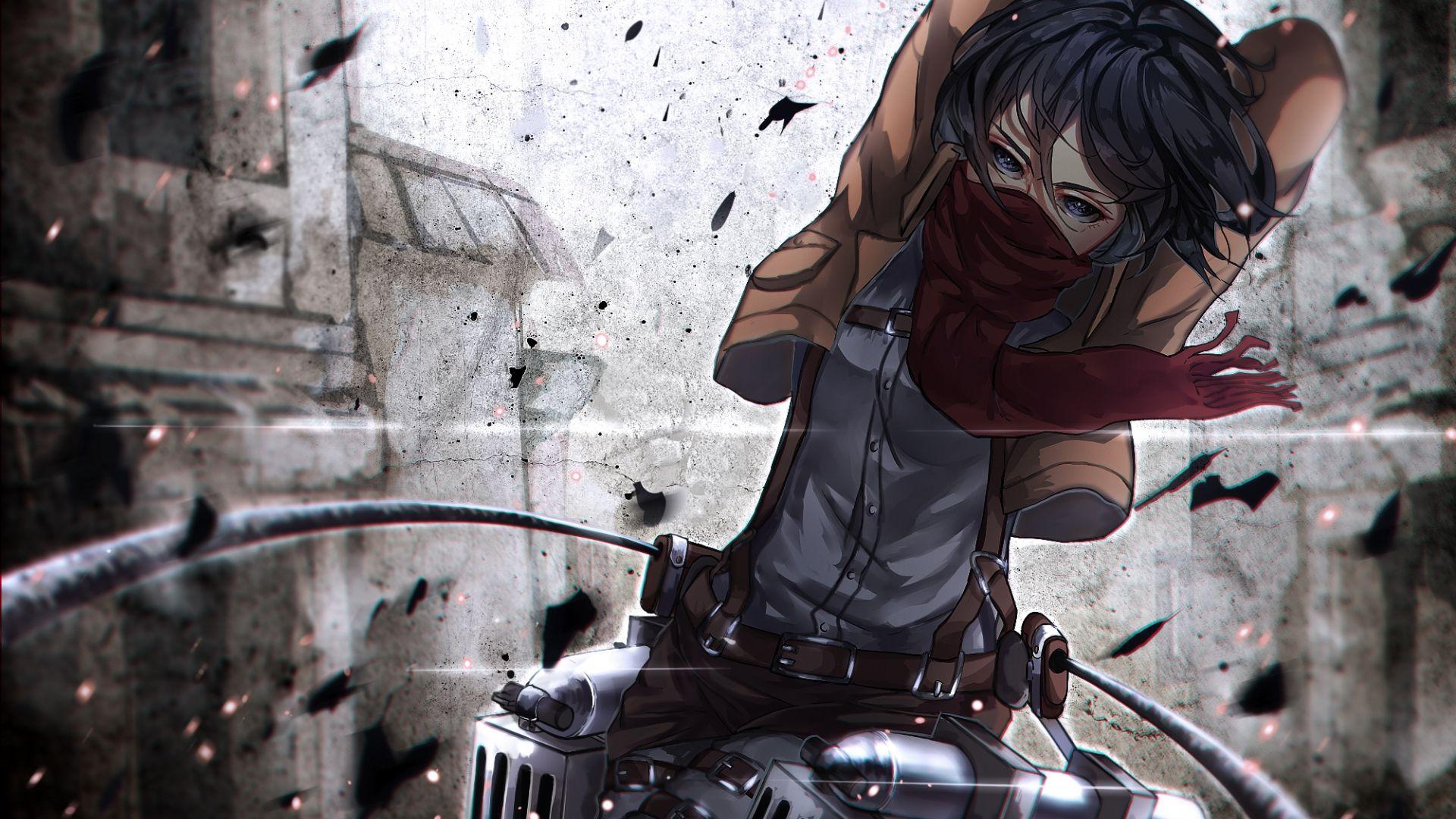 Wallpaper Mikasa Ackerman, mask, attack on titan, anime girl