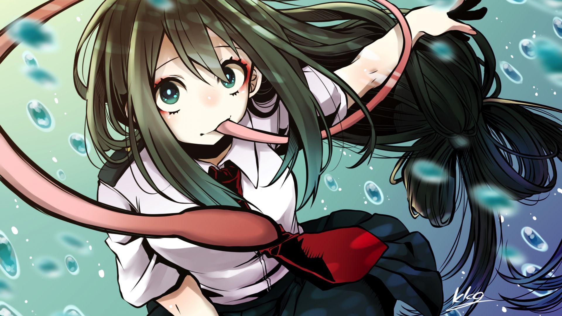 Desktop Wallpaper Anime Girl, Cute, Tsuyu Asui, Hd Image ...