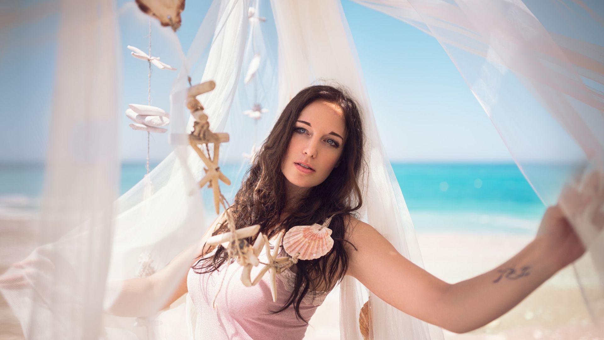 Wallpaper Holiday, beach, girl, model