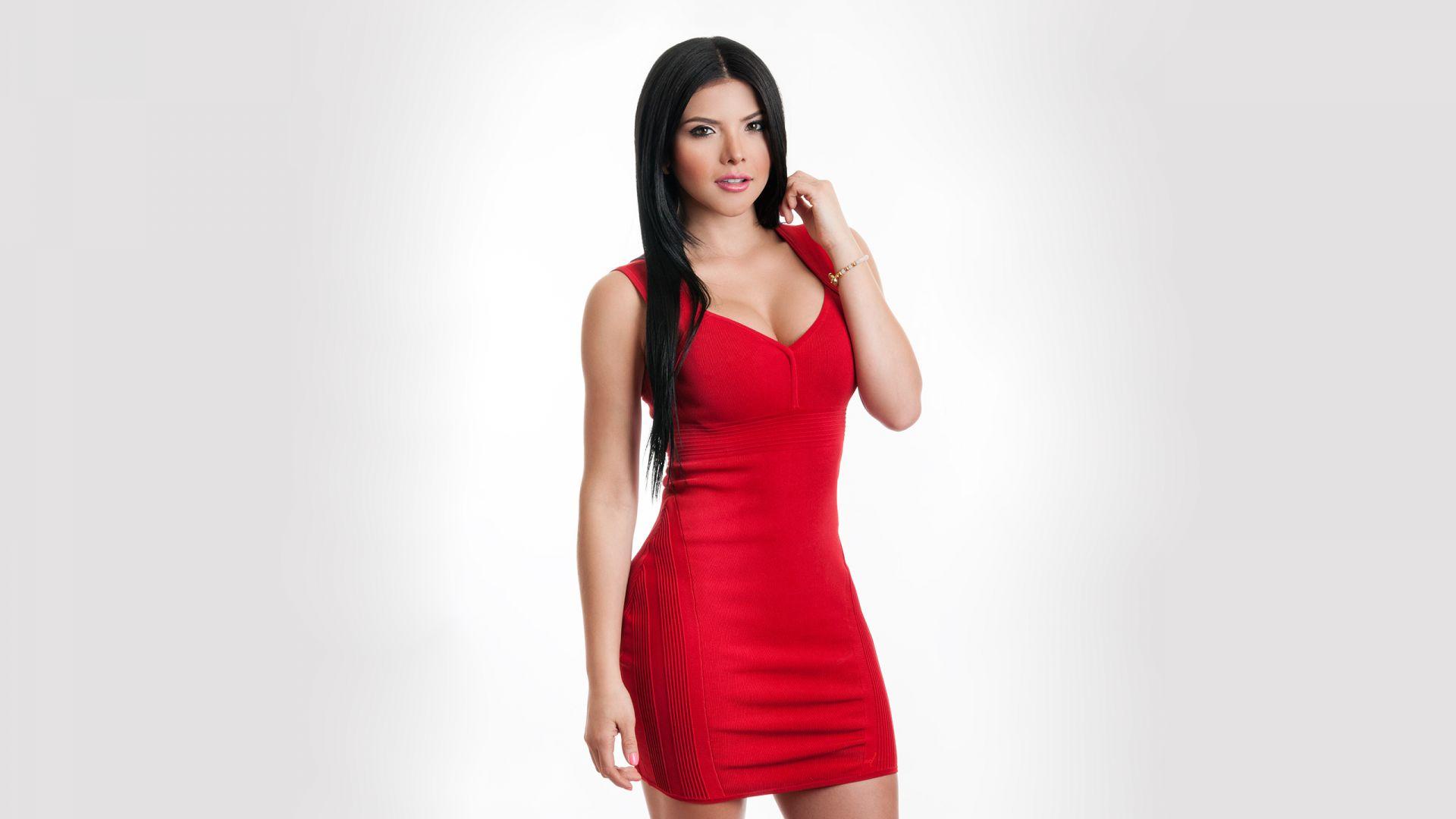 Wallpaper Brenda Galho, red dress, hot model
