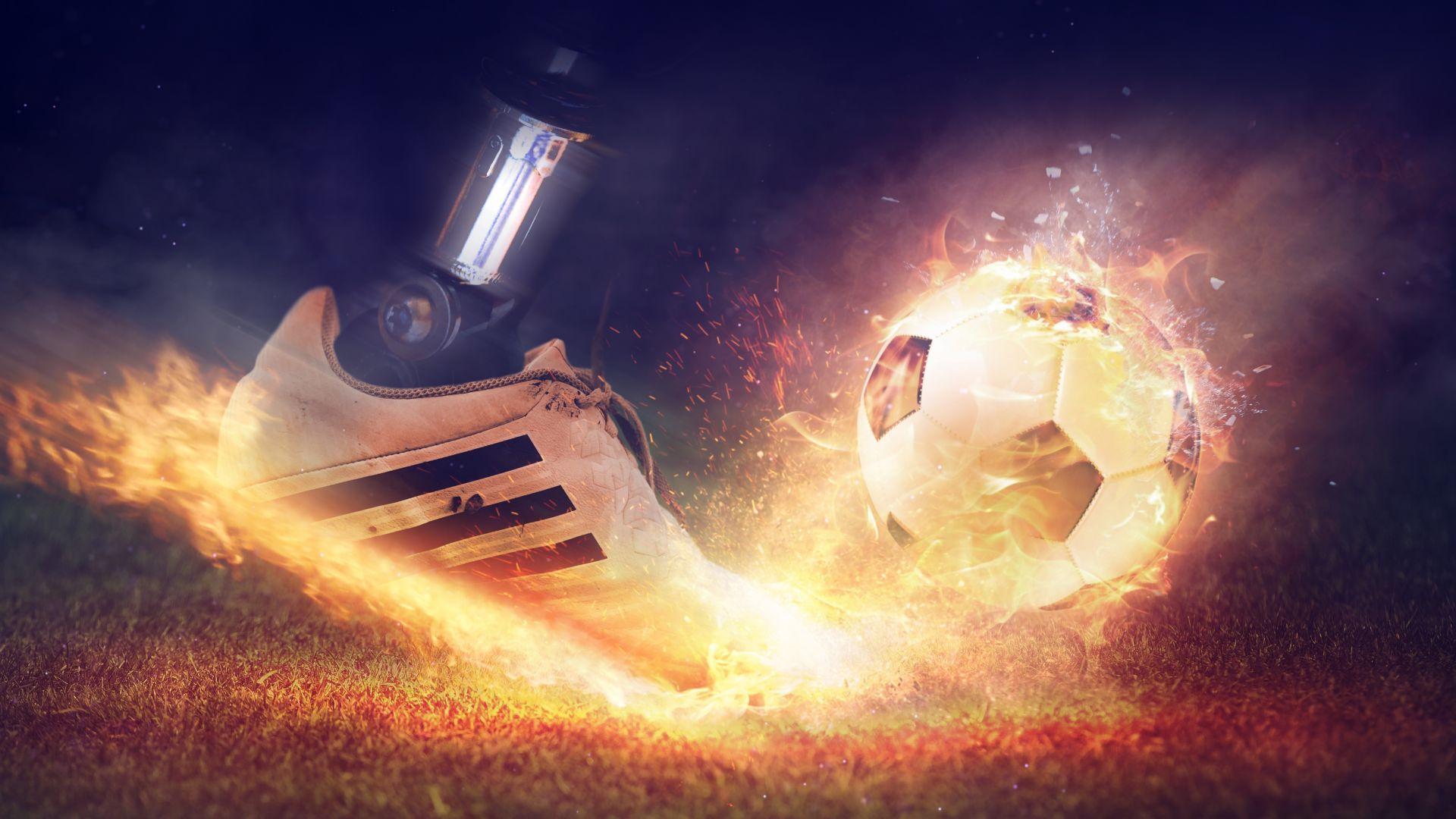 Wallpaper Football shoes, fire, smoke, digital art, 5k