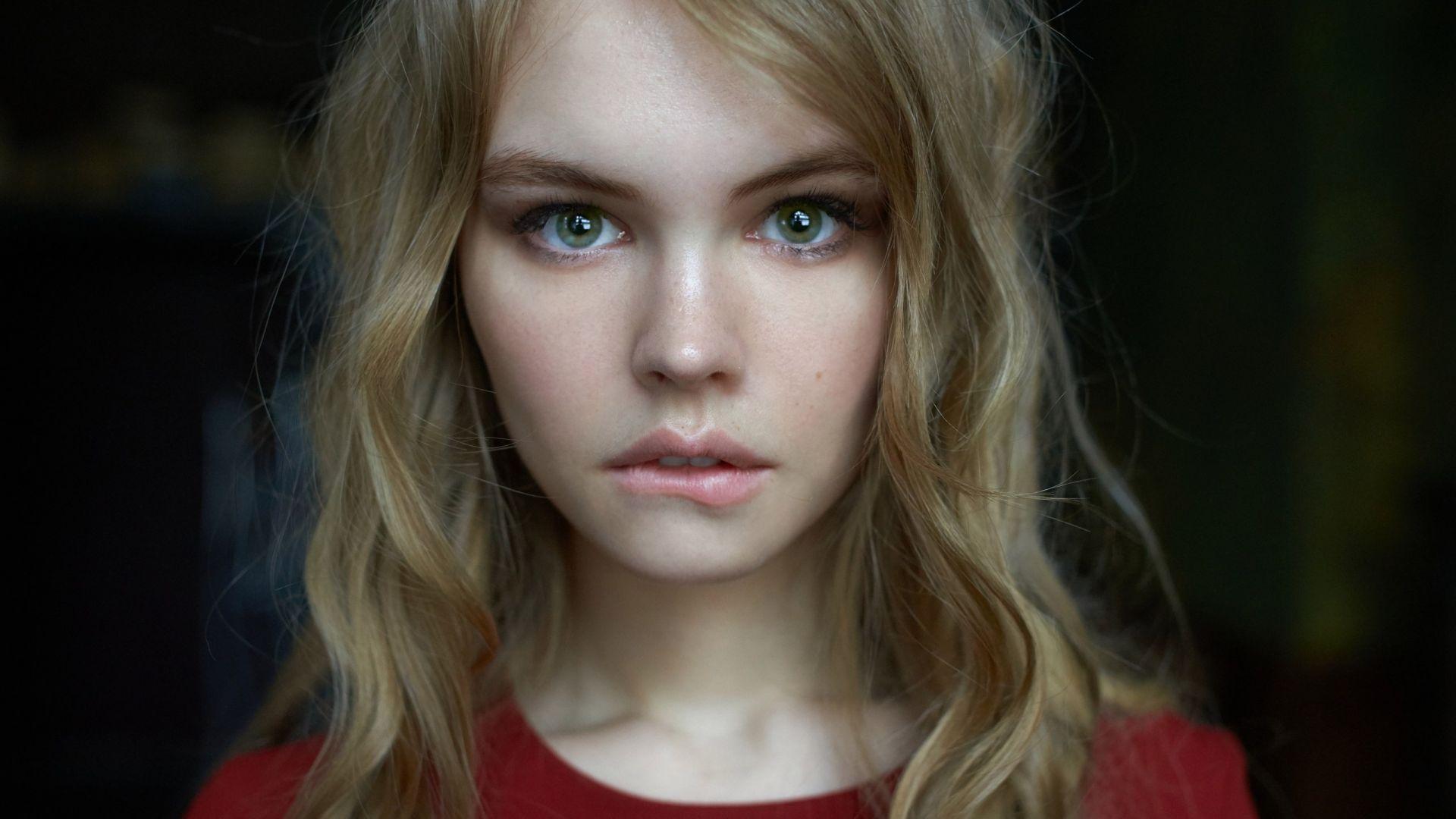 Wallpaper Anastasia scheglova, face, girl model, green eyes