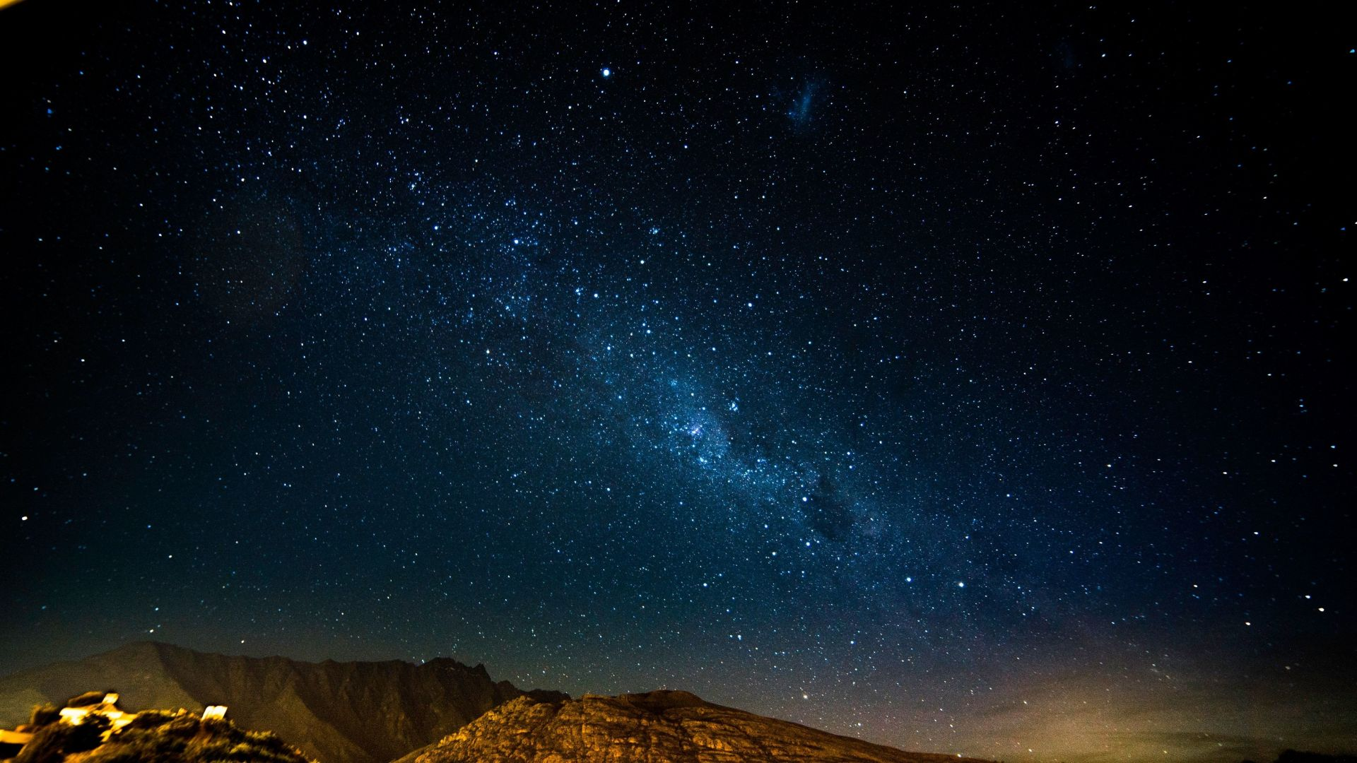 Desktop Wallpaper Starry Night Mountains Radiance Stars