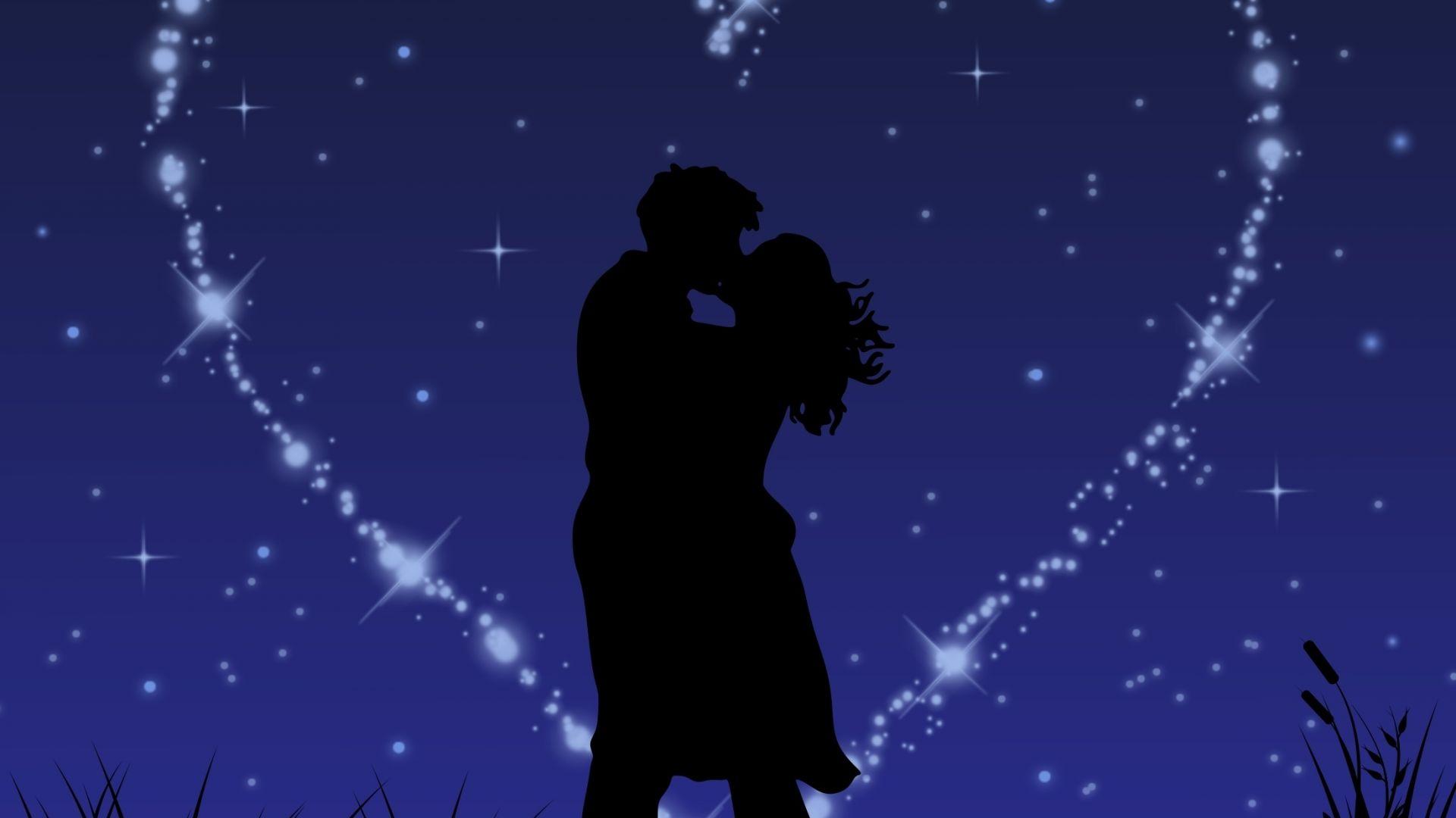 Wallpaper Couple, love, kiss, stars, glitter, digital art