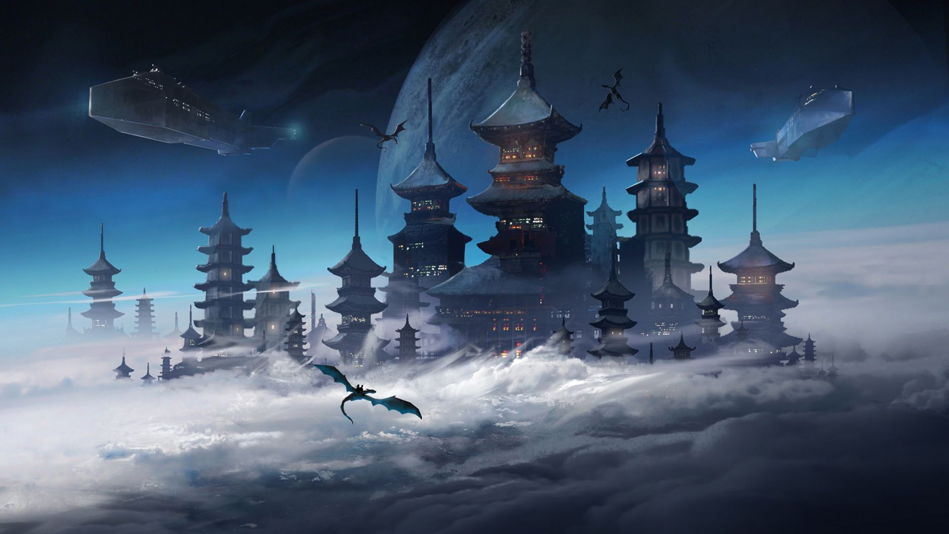 Any One 1 6 Jaeger Birds Hd Wallpapers: Desktop Wallpaper Fantasy, Modern China City, Clouds
