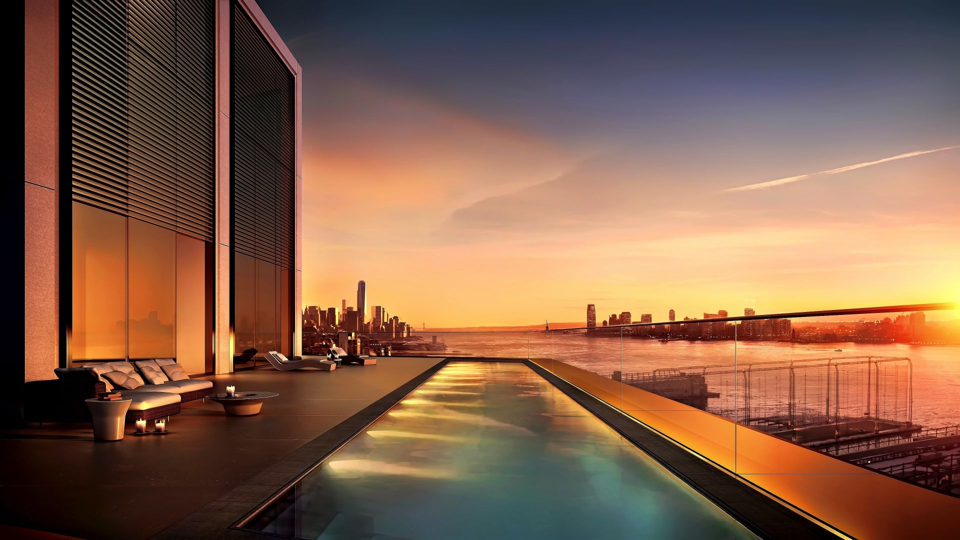 Wallpaper Sunset, new york, city, swimming pool, 4k