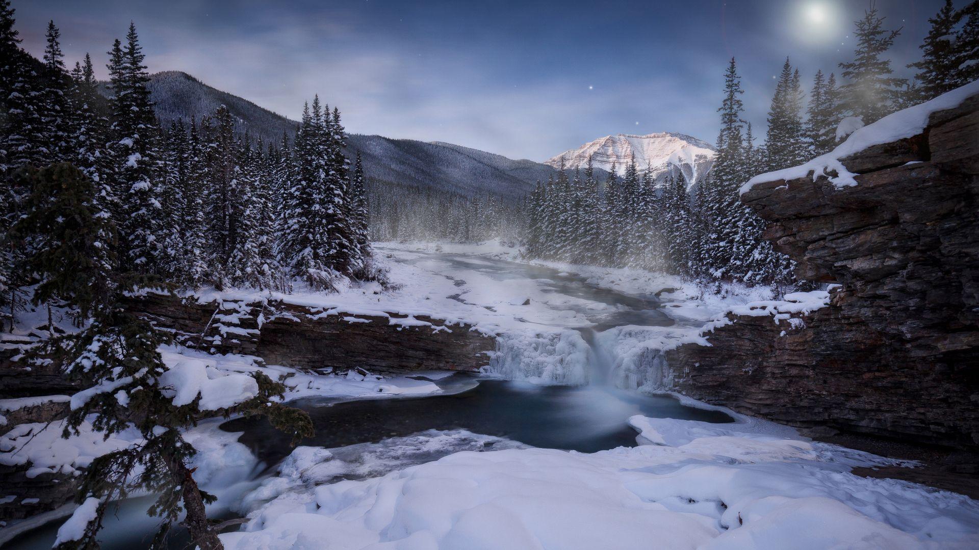 Desktop Wallpaper River Winter Forest Trees Nature 5k