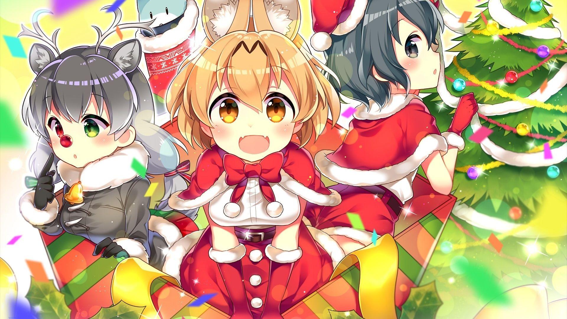 Anime Christmas Wallpaper.Desktop Wallpaper Anime Girls Kemono Friends Christmas Hd
