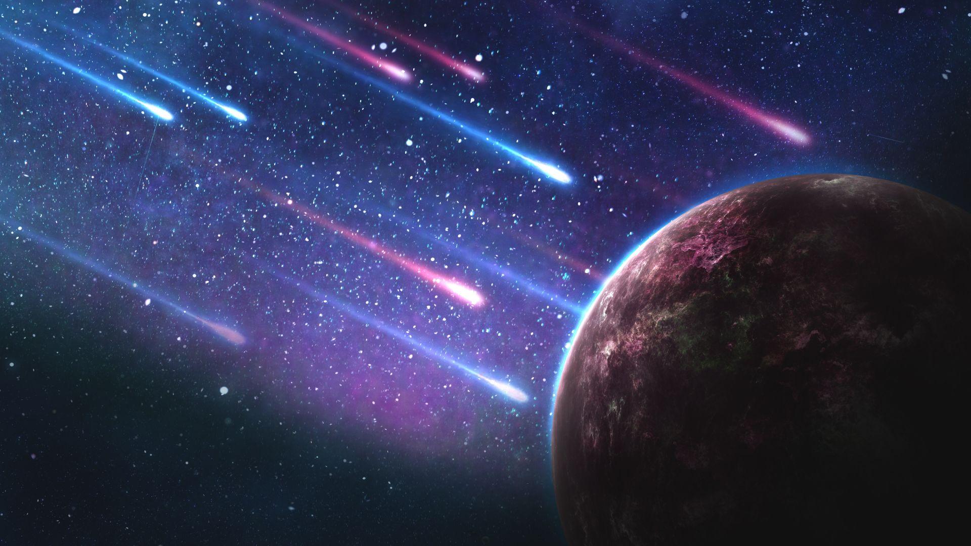 Wallpaper Planet, meteorites, 4k, space