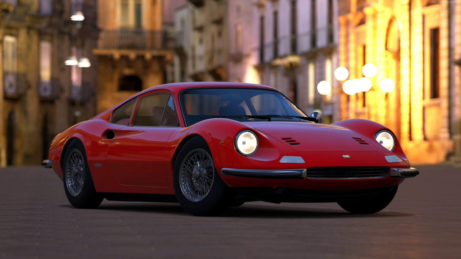 Wallpaper Ferrari Dino, sports car, red, 4k