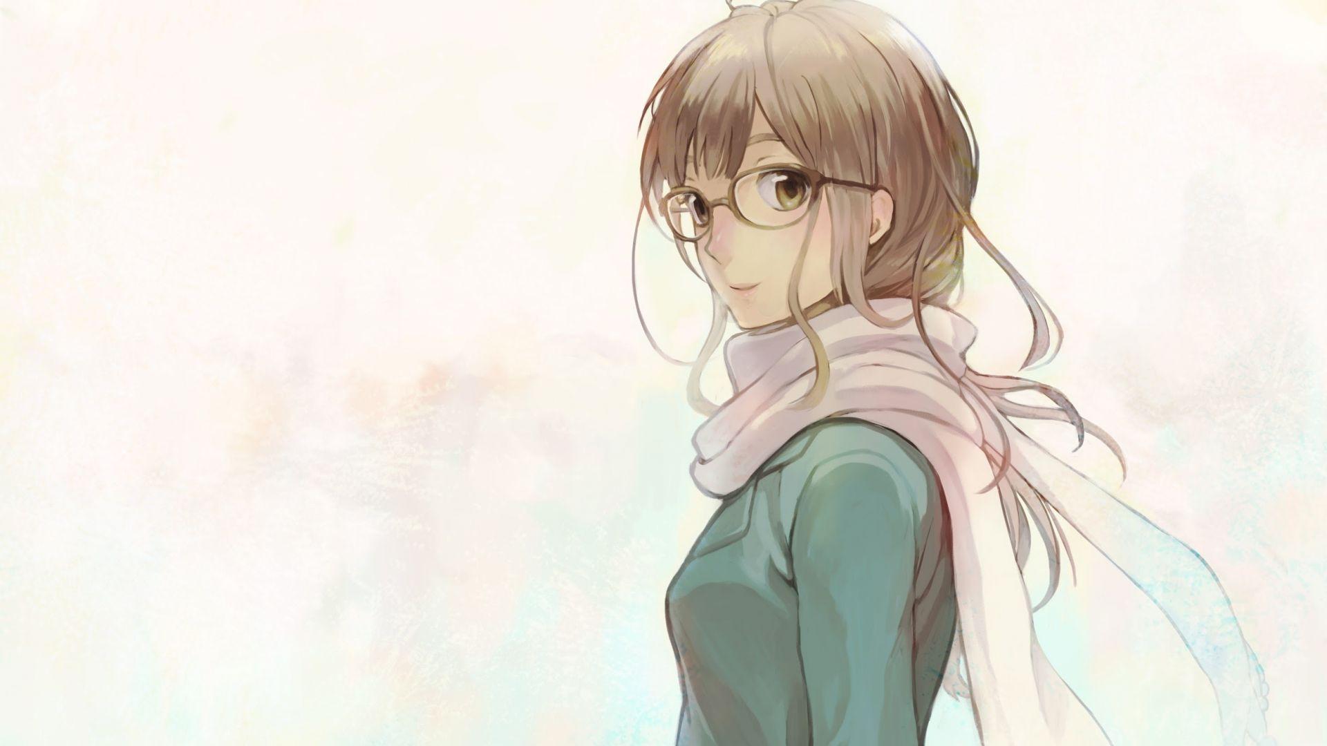 Desktop Wallpaper Cute Anime Girl Glasses Blonde Art Hd Image