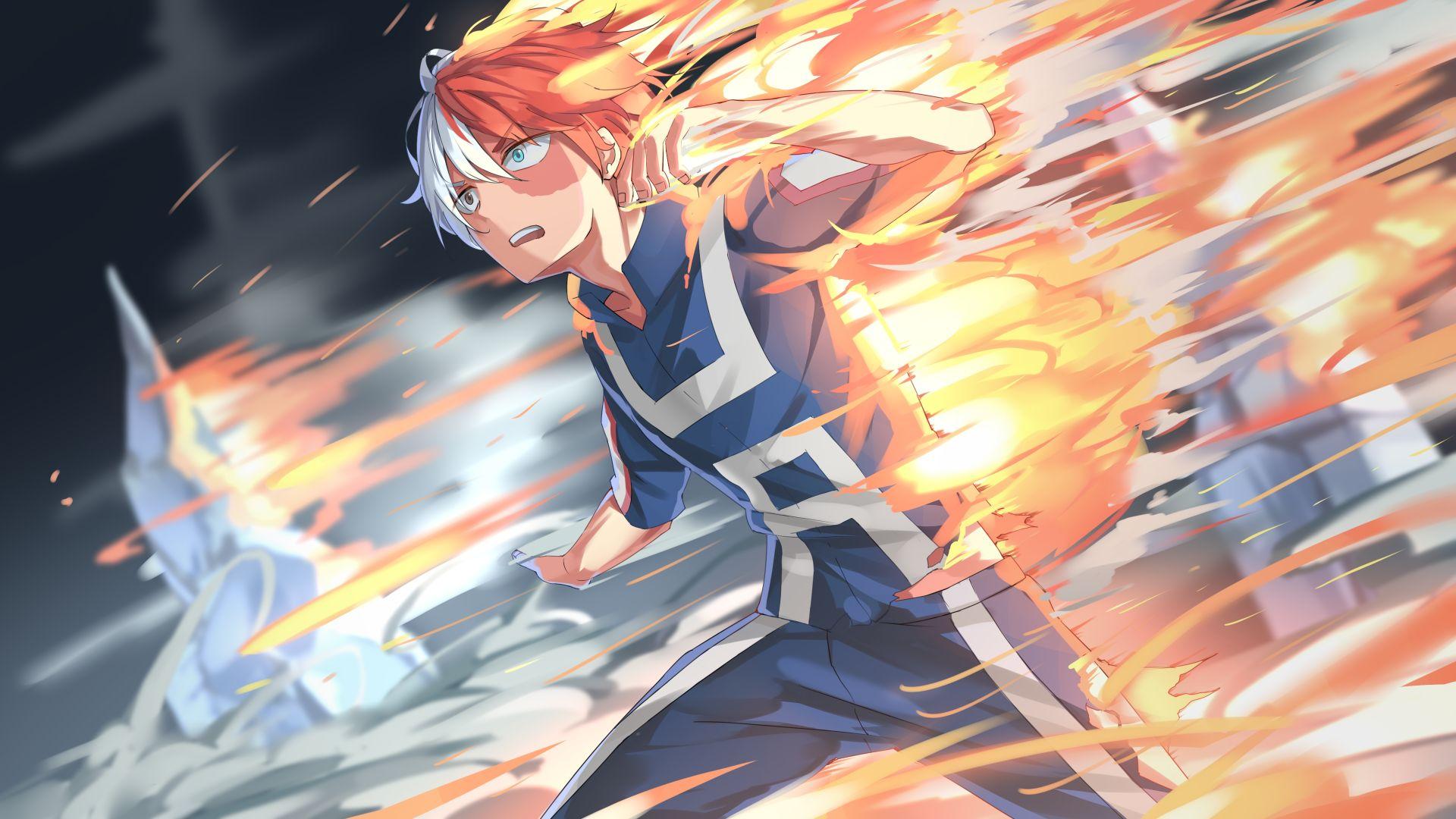 Wallpaper Shouto Todoroki, Boku no Hero Academia, anime boy, run, fire