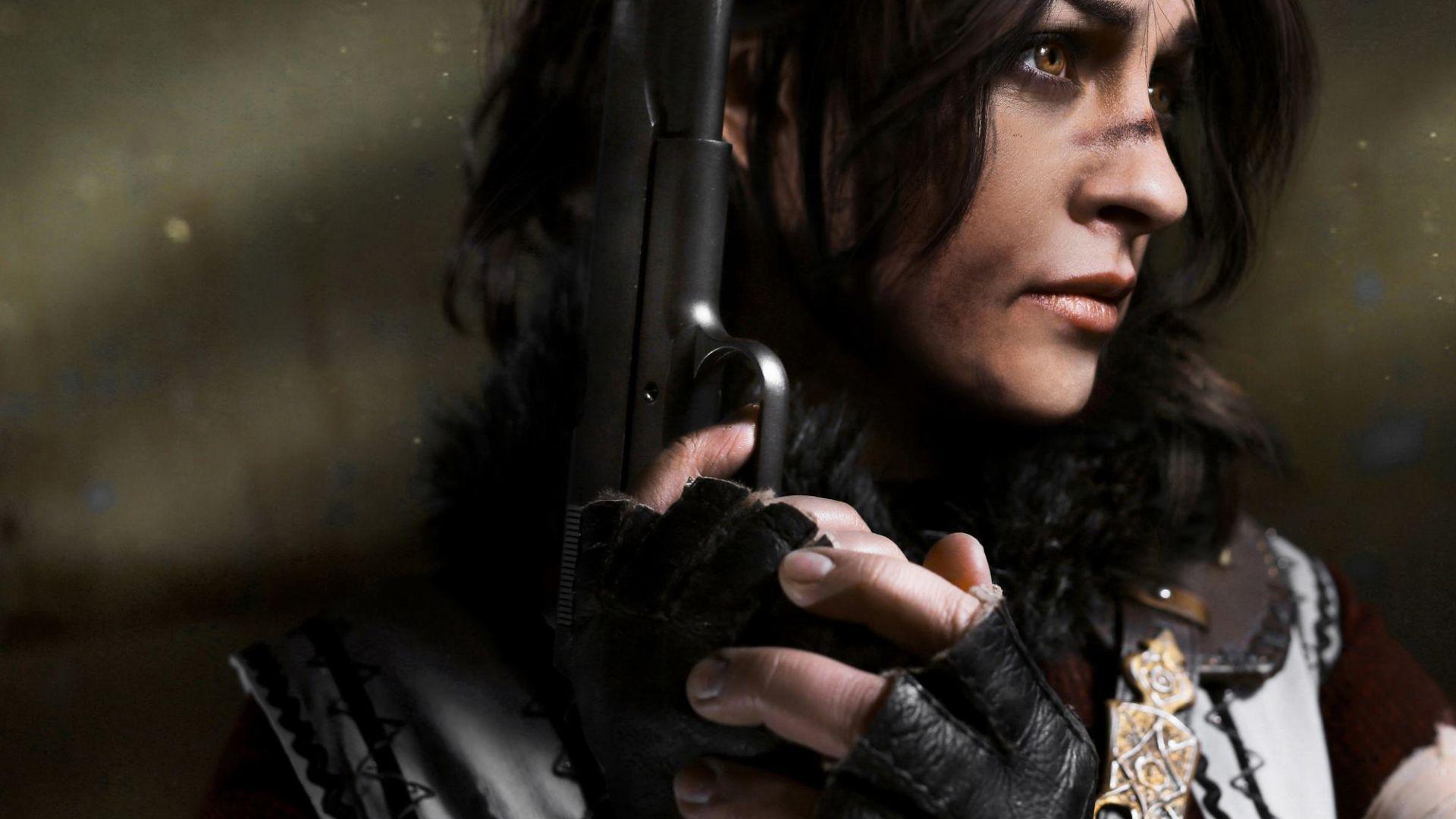 Wallpaper Tomb Raider video game, Lara Croft, Tomb Raider, cosplay, gun