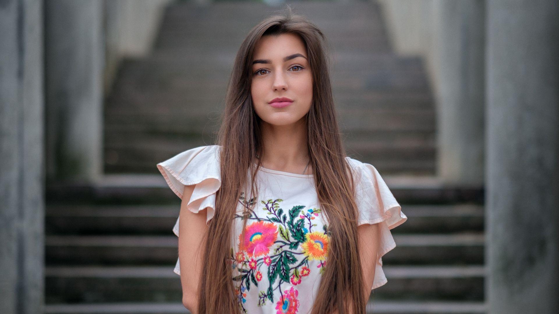 Wallpaper Brown eyes, girl model, beautiful