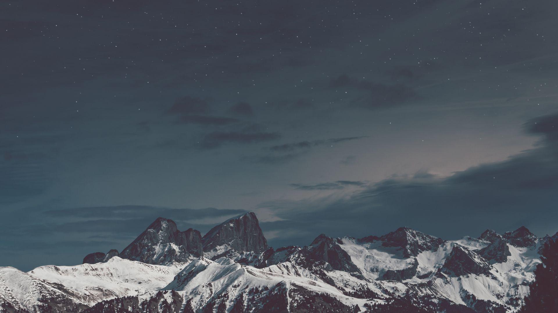 Wallpaper Snow mountains, night, starry sky, 4k