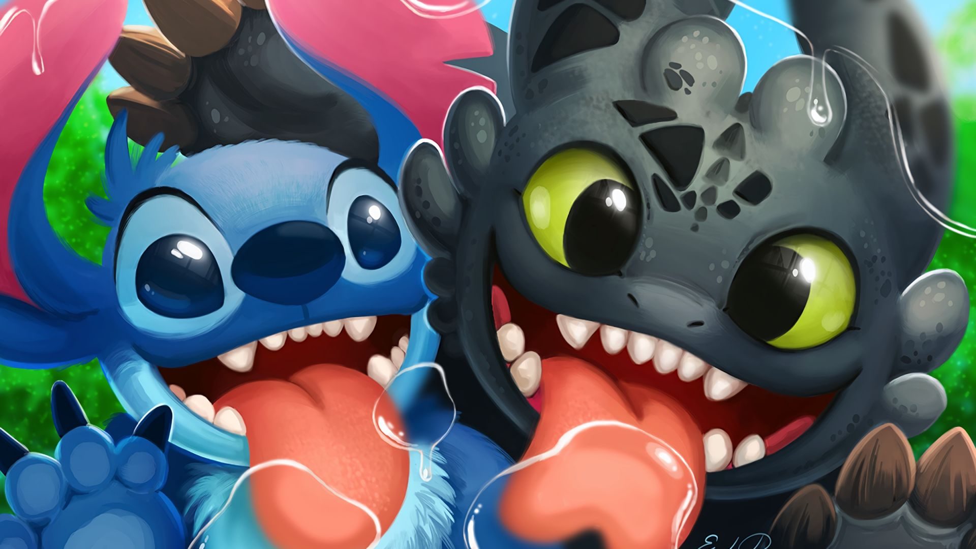 Wallpaper Stitch, Lilo And Stitch, toothless, How to Train Your Dragon, crossover