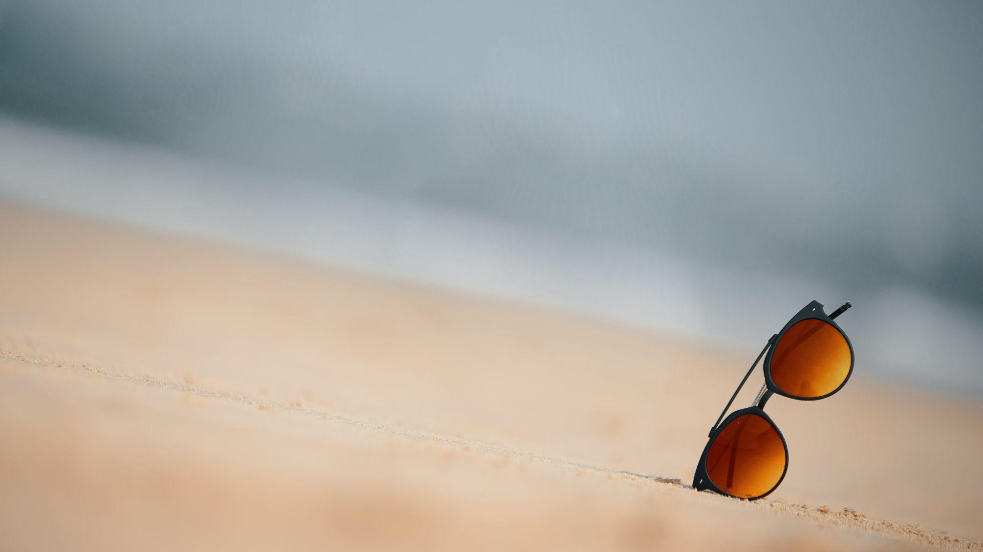 Wallpaper Sand, sunglasses, beach, summer, holiday