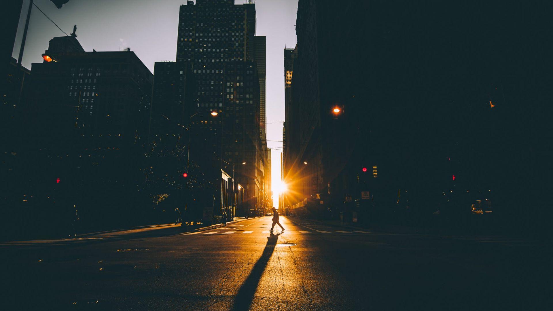 Wallpaper Road, sunrise, city, buildings