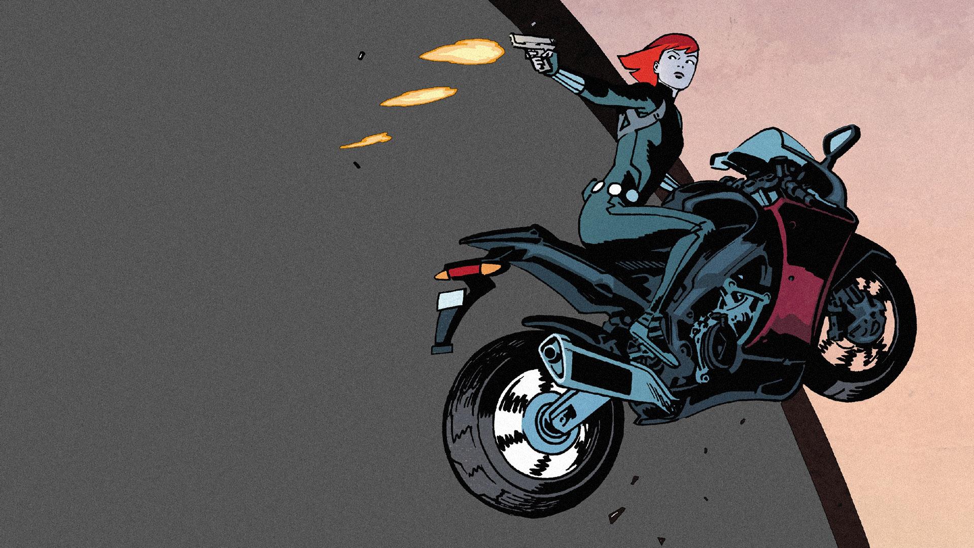 Wallpaper Black widow, marvel comics, bike