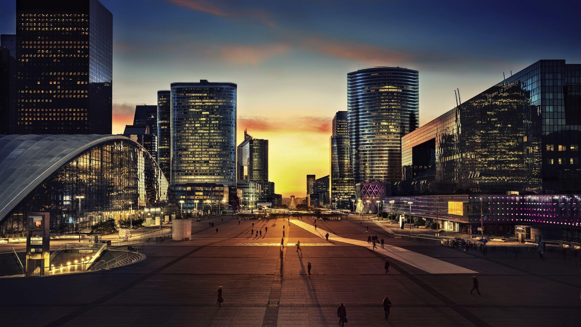 Wallpaper Arc de triomphe, paris, city, night, buildings, 4k