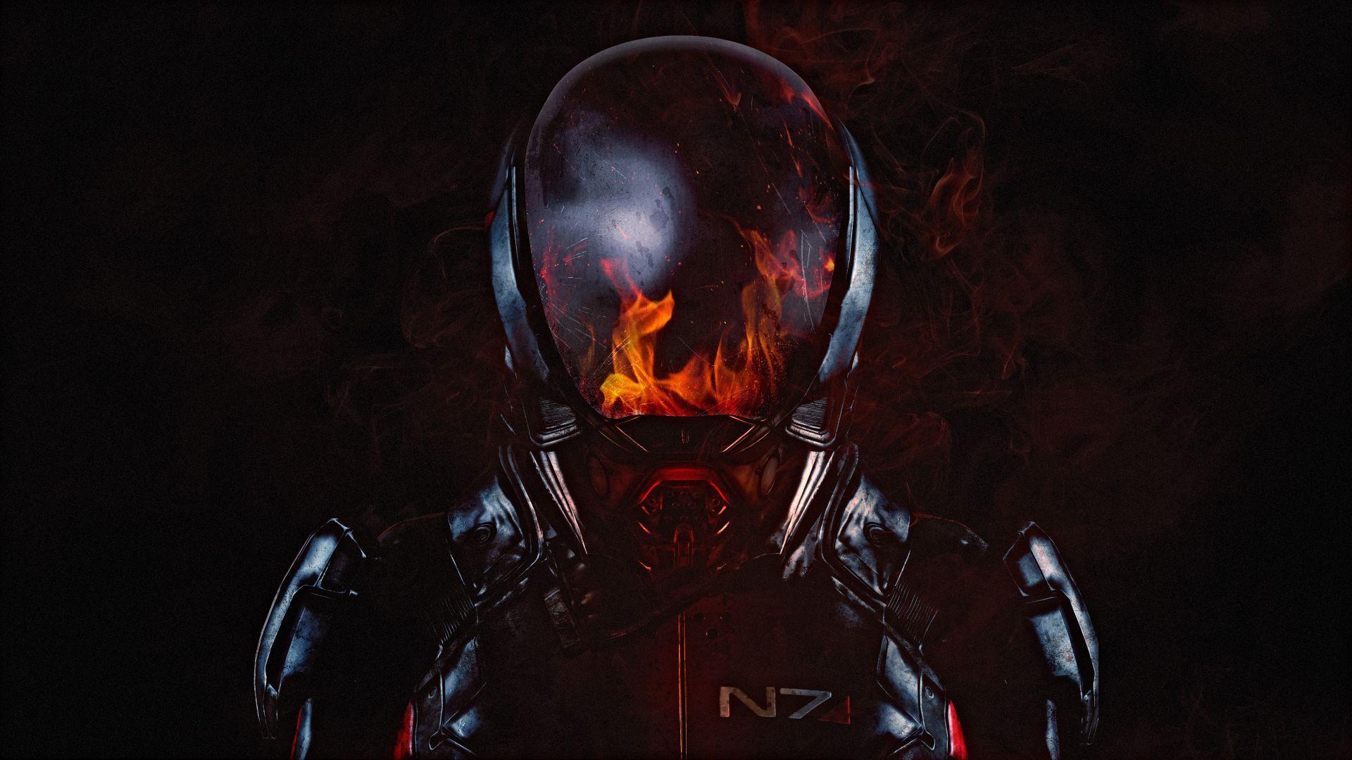 Wallpaper Mass Effect: Andromeda, 2017 game, N7, soldier, flame on helmet, 4k