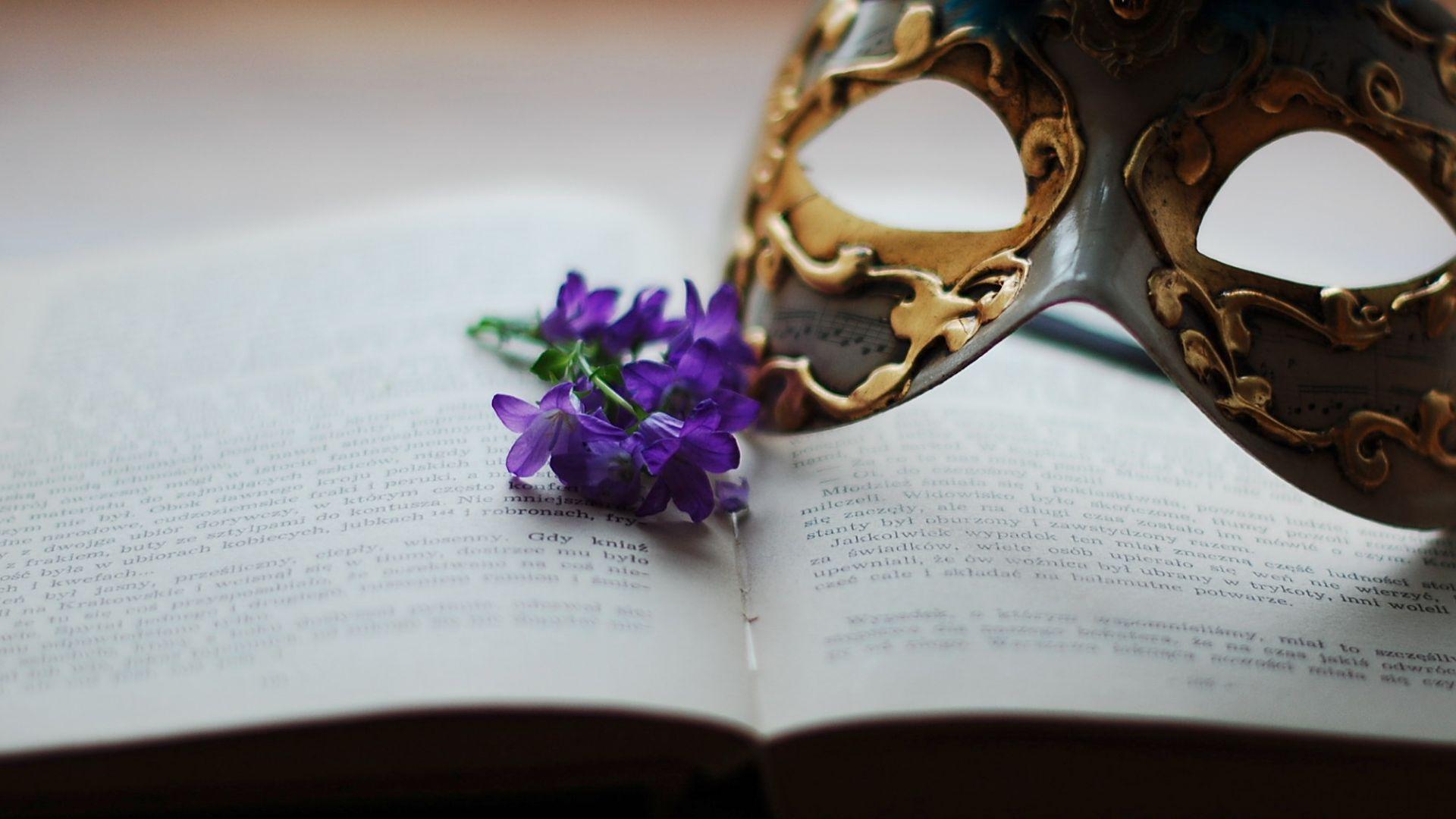 Wallpaper Book, flowers, mask