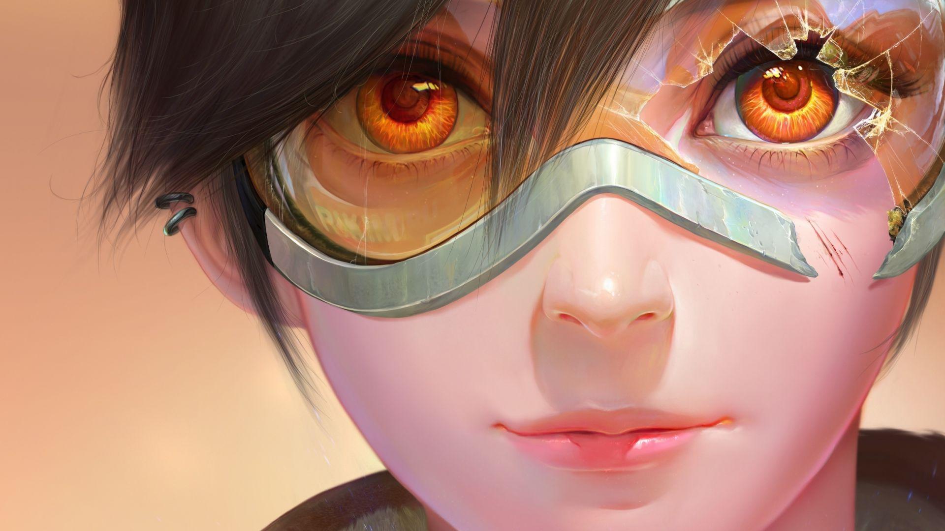 Wallpaper Tracer's face, broken sunglasses, overwatch, fan art