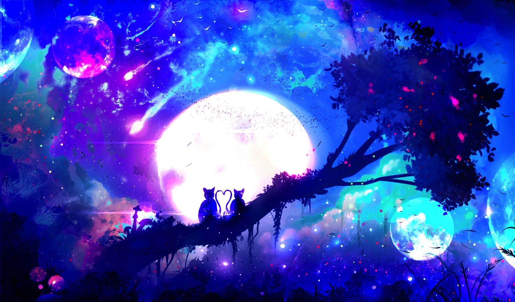 Wallpaper Monkey, pair, night, tree, anime, original, moon, art